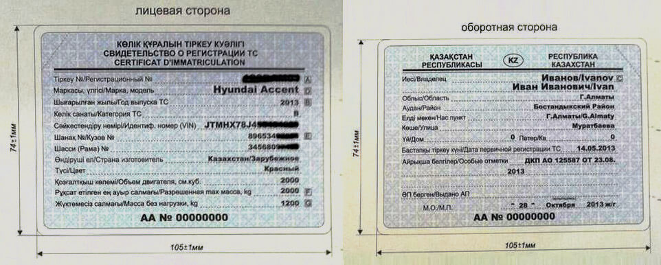 техпаспорт авто РК